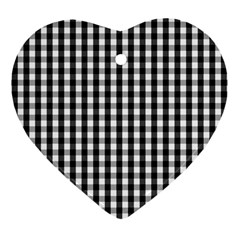 Small Black White Gingham Checked Square Pattern Heart Ornament (Two Sides)