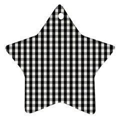 Small Black White Gingham Checked Square Pattern Star Ornament (Two Sides)