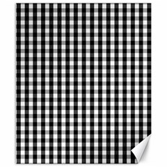 Small Black White Gingham Checked Square Pattern Canvas 8  x 10