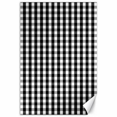 Small Black White Gingham Checked Square Pattern Canvas 12  x 18