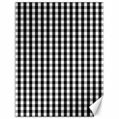 Small Black White Gingham Checked Square Pattern Canvas 18  x 24