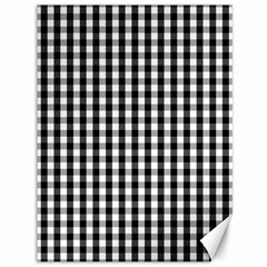 Small Black White Gingham Checked Square Pattern Canvas 36  x 48