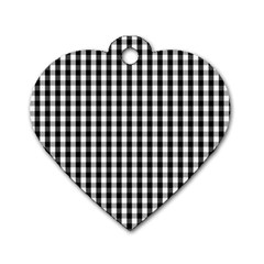 Small Black White Gingham Checked Square Pattern Dog Tag Heart (Two Sides)