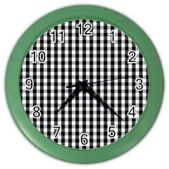Small Black White Gingham Checked Square Pattern Color Wall Clocks