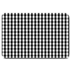 Small Black White Gingham Checked Square Pattern Large Doormat