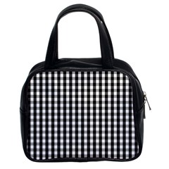 Small Black White Gingham Checked Square Pattern Classic Handbags (2 Sides)