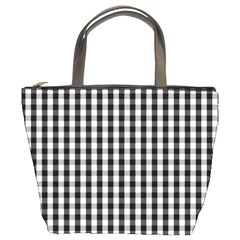Small Black White Gingham Checked Square Pattern Bucket Bags