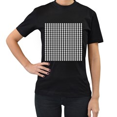 Small Black White Gingham Checked Square Pattern Women s T-Shirt (Black)