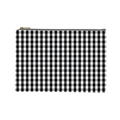 Small Black White Gingham Checked Square Pattern Cosmetic Bag (Large)