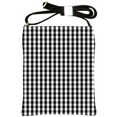 Small Black White Gingham Checked Square Pattern Shoulder Sling Bags
