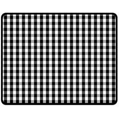 Small Black White Gingham Checked Square Pattern Fleece Blanket (Medium)