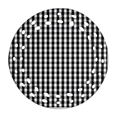 Small Black White Gingham Checked Square Pattern Ornament (Round Filigree)