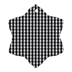 Small Black White Gingham Checked Square Pattern Ornament (Snowflake)