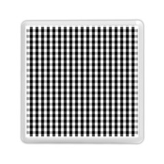 Small Black White Gingham Checked Square Pattern Memory Card Reader (Square)