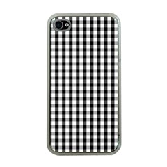 Small Black White Gingham Checked Square Pattern Apple iPhone 4 Case (Clear)