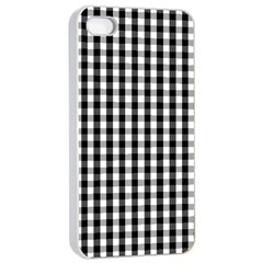 Small Black White Gingham Checked Square Pattern Apple iPhone 4/4s Seamless Case (White)