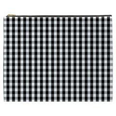 Small Black White Gingham Checked Square Pattern Cosmetic Bag (XXXL)