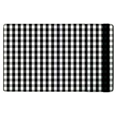 Small Black White Gingham Checked Square Pattern Apple iPad 2 Flip Case
