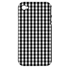 Small Black White Gingham Checked Square Pattern Apple iPhone 4/4S Hardshell Case (PC+Silicone)
