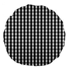 Small Black White Gingham Checked Square Pattern Large 18  Premium Round Cushions