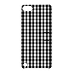 Small Black White Gingham Checked Square Pattern Apple iPod Touch 5 Hardshell Case with Stand
