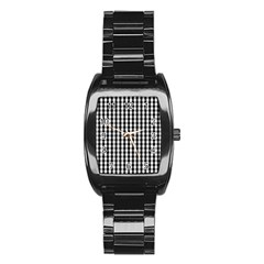 Small Black White Gingham Checked Square Pattern Stainless Steel Barrel Watch