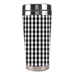 Small Black White Gingham Checked Square Pattern Stainless Steel Travel Tumblers