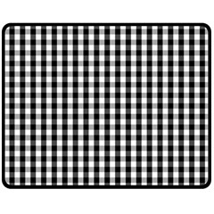 Small Black White Gingham Checked Square Pattern Double Sided Fleece Blanket (Medium)
