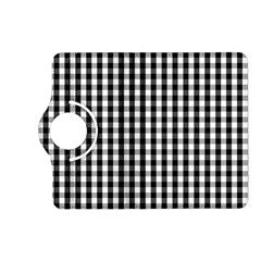 Small Black White Gingham Checked Square Pattern Kindle Fire HD (2013) Flip 360 Case
