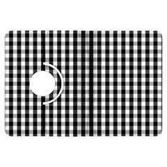 Small Black White Gingham Checked Square Pattern Kindle Fire HDX Flip 360 Case