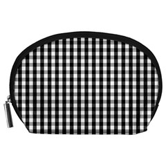 Small Black White Gingham Checked Square Pattern Accessory Pouches (Large)