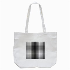 Small Black White Gingham Checked Square Pattern Tote Bag (White)