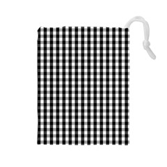 Small Black White Gingham Checked Square Pattern Drawstring Pouches (Large)