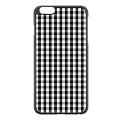 Small Black White Gingham Checked Square Pattern Apple iPhone 6 Plus/6S Plus Black Enamel Case