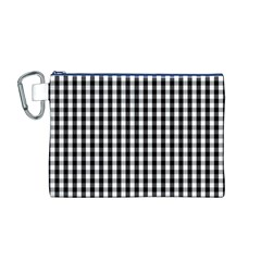 Small Black White Gingham Checked Square Pattern Canvas Cosmetic Bag (M)
