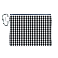 Small Black White Gingham Checked Square Pattern Canvas Cosmetic Bag (L)