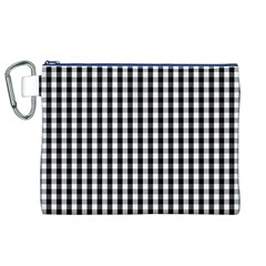 Small Black White Gingham Checked Square Pattern Canvas Cosmetic Bag (XL)