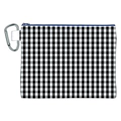 Small Black White Gingham Checked Square Pattern Canvas Cosmetic Bag (XXL)
