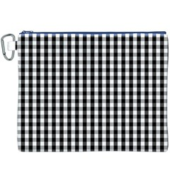 Small Black White Gingham Checked Square Pattern Canvas Cosmetic Bag (XXXL)