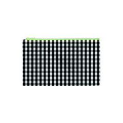Small Black White Gingham Checked Square Pattern Cosmetic Bag (XS)