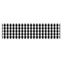 Small Black White Gingham Checked Square Pattern Satin Scarf (Oblong)