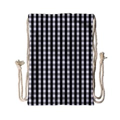 Small Black White Gingham Checked Square Pattern Drawstring Bag (Small)