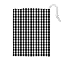 Small Black White Gingham Checked Square Pattern Drawstring Pouches (Extra Large)