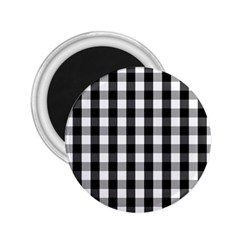 Large Black White Gingham Checked Square Pattern 2.25  Magnets