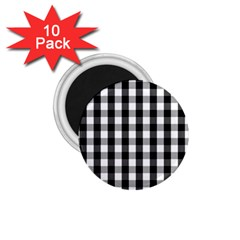 Large Black White Gingham Checked Square Pattern 1.75  Magnets (10 pack)