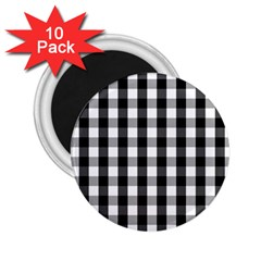 Large Black White Gingham Checked Square Pattern 2.25  Magnets (10 pack)