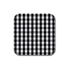 Large Black White Gingham Checked Square Pattern Rubber Coaster (Square)