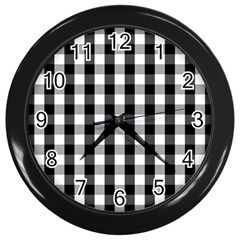 Large Black White Gingham Checked Square Pattern Wall Clocks (Black)
