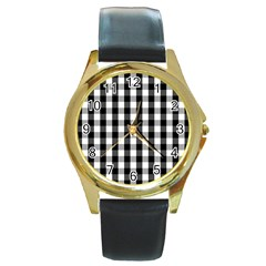 Large Black White Gingham Checked Square Pattern Round Gold Metal Watch