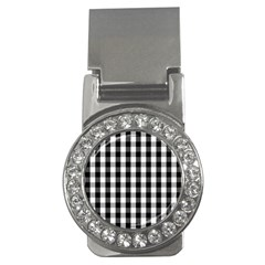 Large Black White Gingham Checked Square Pattern Money Clips (CZ)